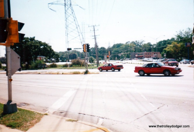 This is a much better shot of the intersection of Highway 100 & Forest Home Ave. in the 1990's. The electric transmission towers are approximately where the TM r.o.w. was but that tower does not match the one in the same spot in the 1920's photo.