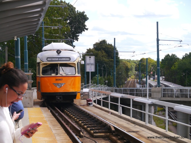 "It's incredible that this PCC is still in service. According to Don's Rail Photos, ""3087 was built by Pullman-Standard in 1945, #W6710A. It was rebuilt in 2000 for service."" Here, we see it pulling in to the Ashmont Terminal, where riders can switch to the Red Line subway. Unlike the other light rail lines, the Ashmont-Mattapan line is considered part of the Red Line. When we were there, it was operating as a free shuttle, although the trains had fare boxes."