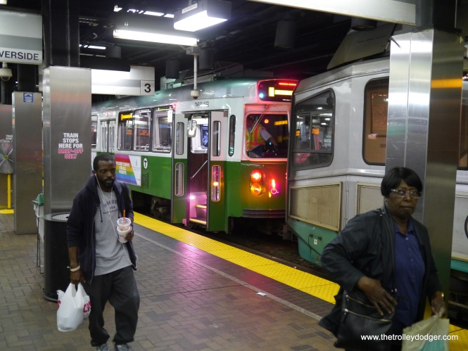 The Green Line at Park Street, where you can switch between the B, C, D, and E branches or change to the Red Line.