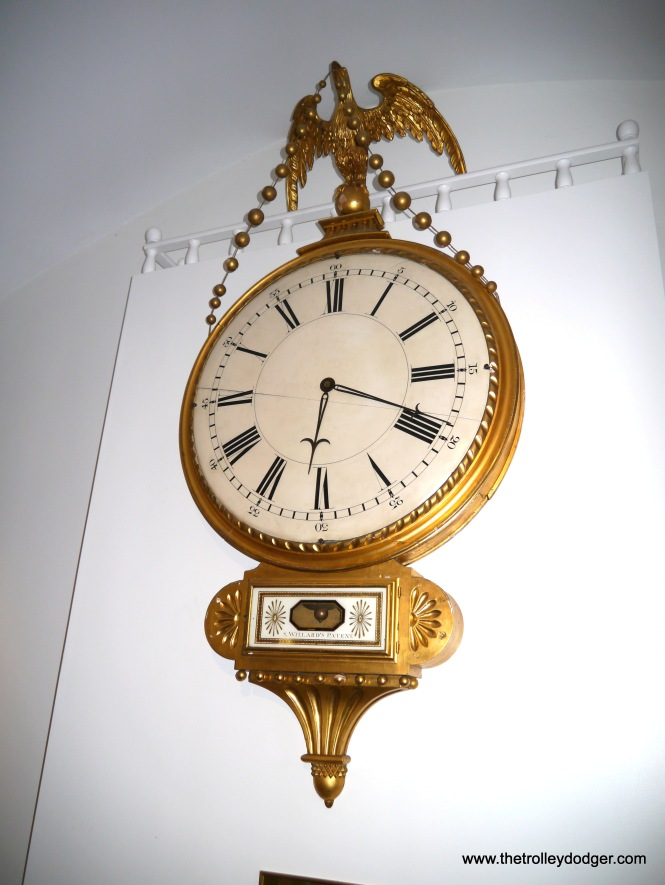This early 19th century gallery clock is the original from the First Church of Roxbury, and is on loan to the Willard House. Meanwhile, an exact replica was made and hangs in the church.