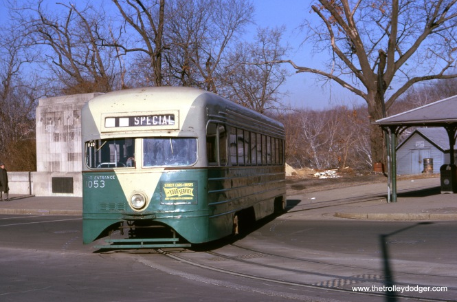 This January 1962 image shows DC Transit pre-PCC car 1053, just prior to the end of streetcar service in our nation's capitol. Unfortunately, this historically important streetcar was later destroyed in a fire at the National Capital Trolley Museum in 2003.