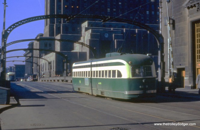 A postwar Pullman-built PCC prepares to cross the Chicago River on Madison Street, probably in the early 1950s. That's the old Chicago Daily News building in the background.