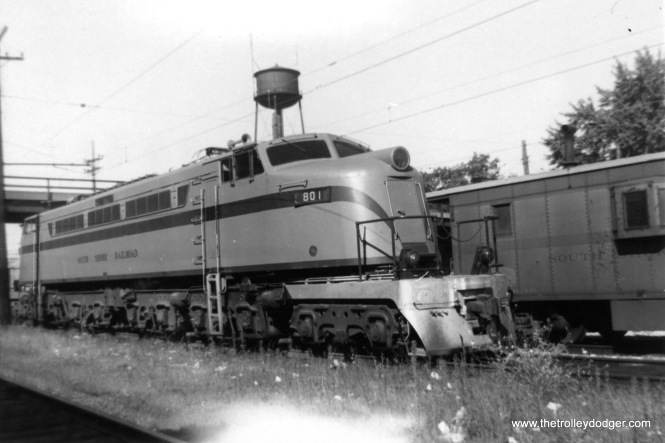 "South Shore Line ""Little Joe"" 801 in October 1960."