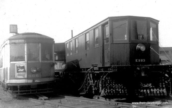 Another scene from IERM in July 1961. At left is Milwaukee streetcar 966, built by St. Louis Car Company in 1927. At right is ex-CTA/CSL sweeper E223, which was purchased for the museum by Dick Lukin in 1956.