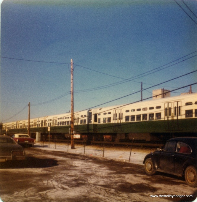The CTA DesPlaines Avenue yard in Forest Park, December 22, 1976. This was the 1959 configuration that was in use until the station was rebuilt circa 1980.