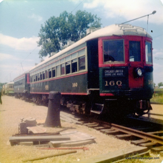 North Shore Line car 160 at the Illinois Railway Museum in the mid-1970s.