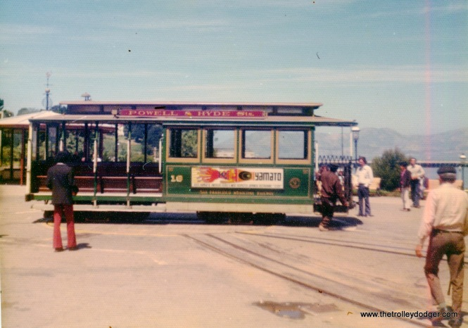 San Francisco cable car 16(?) on May 27, 1974.