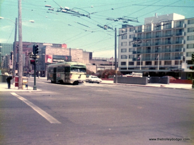 An SF Muni PCC on Market Street, May 27, 1974.