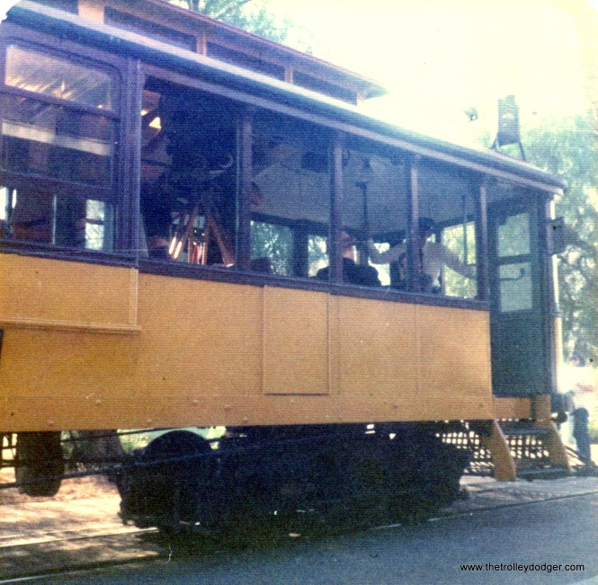 A Los Angeles streetcar at OERM, Perris, California on July 6, 1976.
