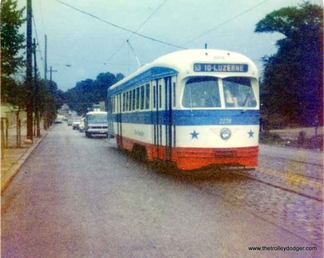 Philadelphia PCC 2278, in bicentennial garb, on Route 53, September 2, 1976.