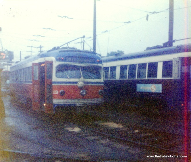 SEPTA Red Arrow car 13, built by St. Louis Car Company in 1949, as it looked on September 2, 1976.