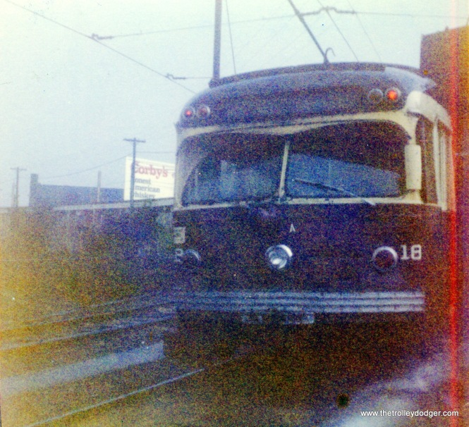 Red Arrow car 18, also built in 1949. These double-ended interurban cars closely resembled PCCs but did not use PCC trucks.