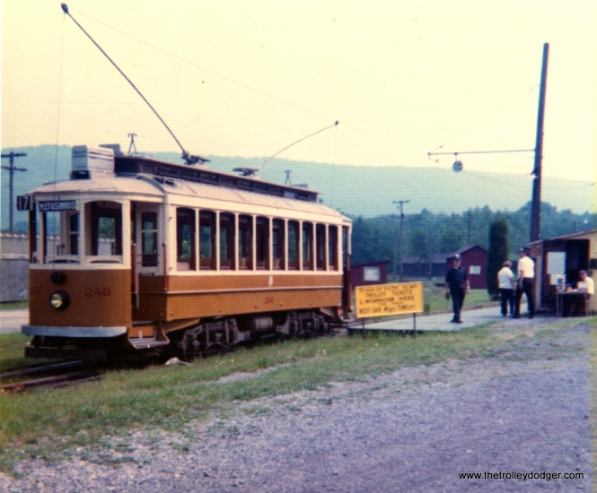 J. G. Brill built car 249 for Oporto, Portugal in 1904 and features maximum traction trucks. It was retired in 1972 and is shown at the Rockhill Trolley Museum on August 24, 1975.