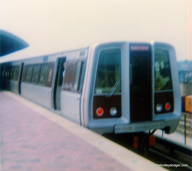 A Washington, D.C. subway car at the Rhode Island Avenue station on September 1, 1977.
