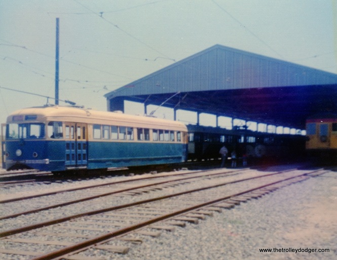 "San Francisco Municipal Railway ""Magic Carpet"" carr 1003 was one of five experimental double-end cars built in 1939 by the St. Louis Car Company. This lone survivor is seen at the Western Railway Museum on May 26, 1974."