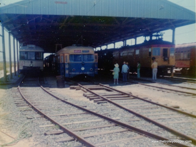 "At left, we see Muni car 178, and next to it is ""Magic Carpet"" car 1003, at the Western Railway Museum on May 26, 1974."