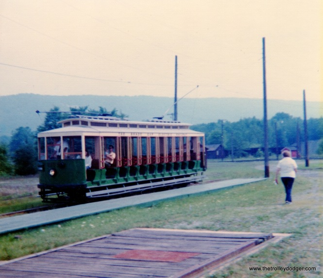 This open car was built by Brill in 1912 and was used in Rio De Janeiro. It's shown at the Rockhill Trolley Museum on August 24, 1975.
