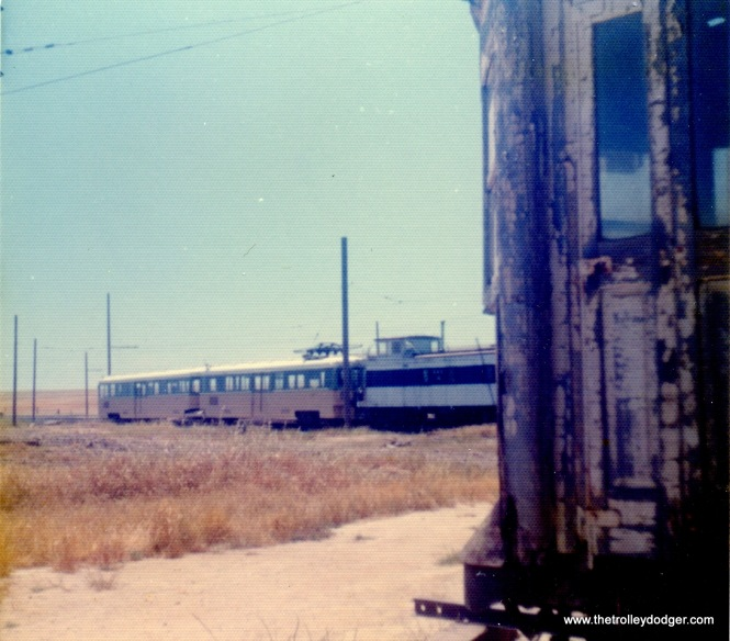 In the distance, we see a pair of Key System bridge units at the Western Railway Museum on May 26, 1974. These ran in Oakland over the bay Bridge, and were retired in 1958.