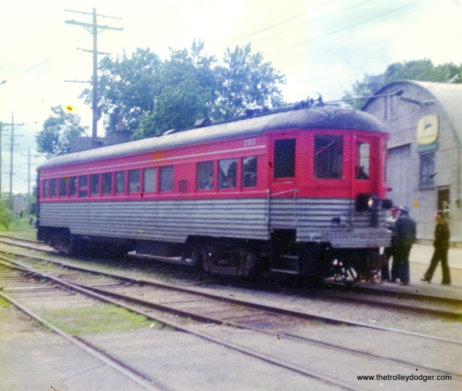 North Shore Line car 757 at East Troy, Wisconsin on June 23, 1974. This car has since gone to the Illinois Railway Museum.