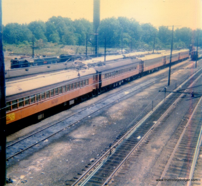South Shore Line cars in storage at Michigan City, Indiana on July 17, 1977.