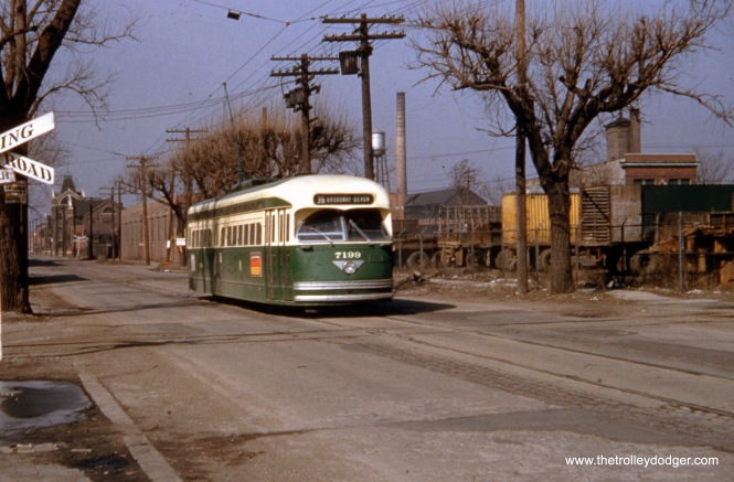 CTA PCC 7199, a product of the St. Louis Car Company, is eastbound on 120th near Halsted circa 1952-55. This was the south end of Route 36 - Broadway-State. (Eugene Van Dusen Photo)