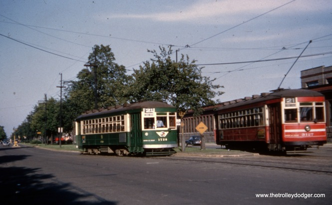 CTA 1728 and 3127 on Route 21 - Cermak, just east of Kenton, circa 1952-54.