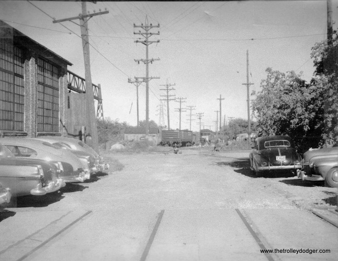 #9 - Literal end of track on Lincoln Ave. (Waukesha East Limits), 9-26-52. Note track has been cut. John Schoenknecht collection.