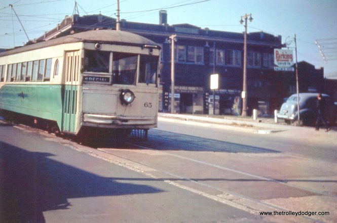 SR 65 @ 6th & Michigan on 10-7-49 shakedown trip.