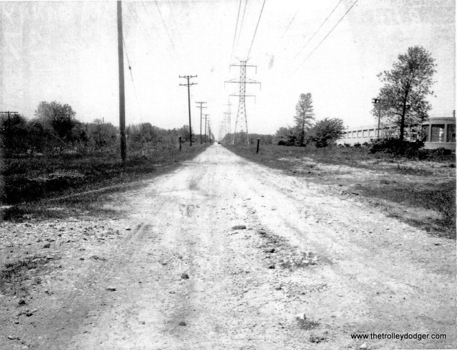 #2 - The Sunny Slope Rd. xing lkg. west in 5/71. Former J.G. Van Holten plant @ right. Note: power lines not in same place as #1.