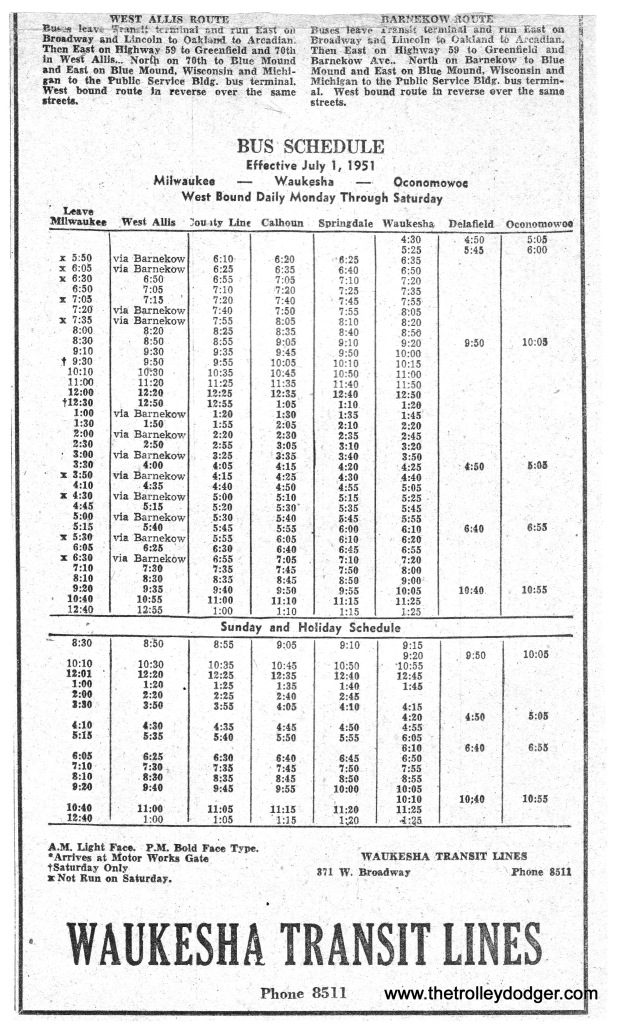 WTL Bus schedule 7-1-51