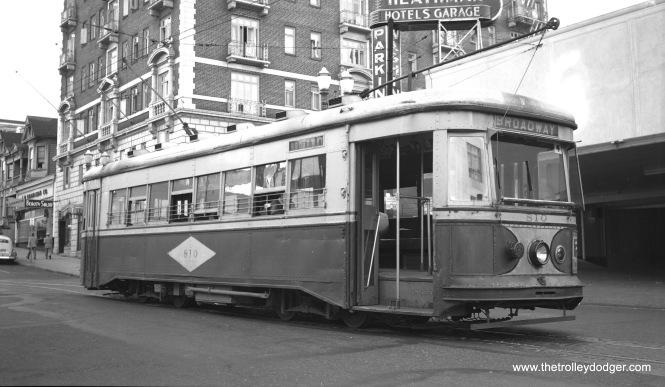 "Portland Railway Light & Power ""Master Unit"" 810 in Portland, Oregon on July 3, 1948."