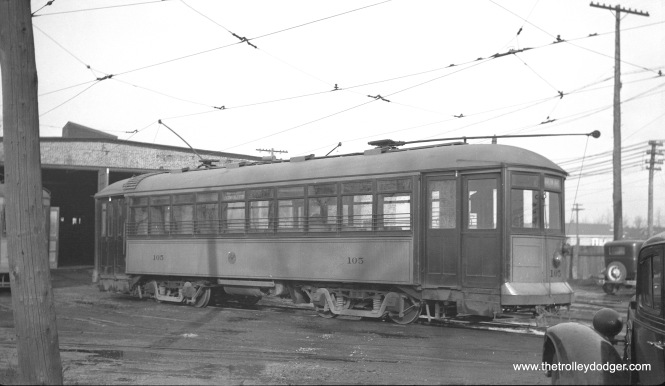 Chicago & West Towns 105 at the Riverside car barn in the 1930s. This car was built by McGuire-Cummings in 1915.