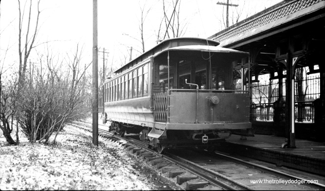 Car 4 leaving the sation, moving away from the photographer in January 1935. (W. Lupher Hay Photo)