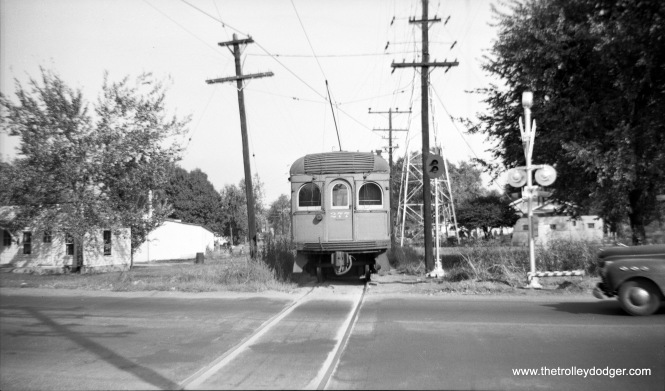 """Illinois Terminal 277 in Edwardsville. Don's Ril Photos: """"277 was built by St Louis Car in 1913, #966. It was rebuilt in October 1951 with new seats and other modernized features. It was sold to the Illinois Railway Museum on March 9, 1956."""" (Photo by Ward)"""