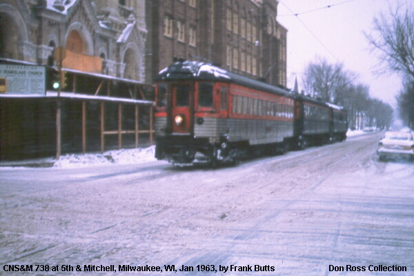 3A NSL 738 sb. At 5th & Mitchell Sts. Passing Notre Dame High School & St. Stanislaus Catholic Church. Frank Butts photo from the Don Ross collection.
