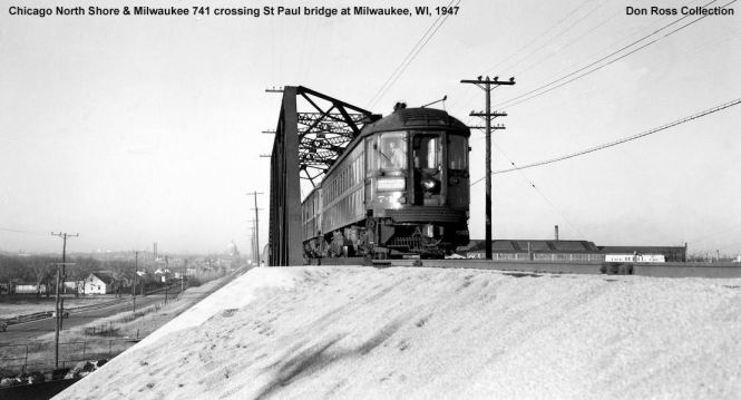 7A NSL 741 crossing Milwaukee Road tracks at 6th & Holt. 1941 Don Ross