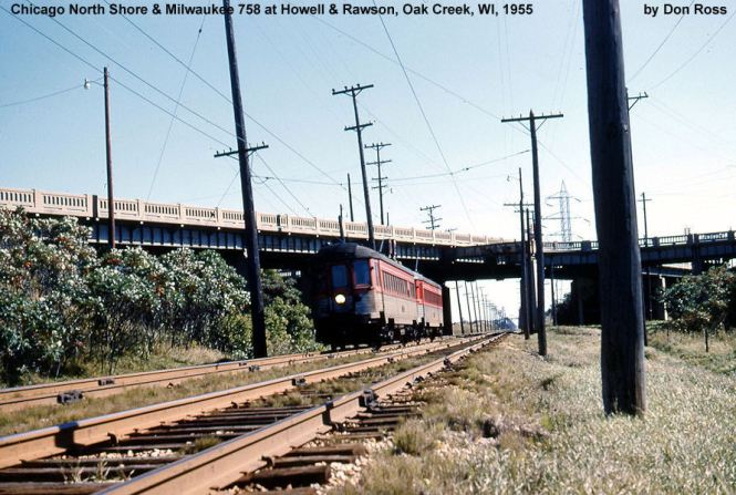 11A A 2 car train of Silverliners heads northwest toward Milwaukee beneath the Howell & Rawson Ave. bridges in 1955. Don Ross