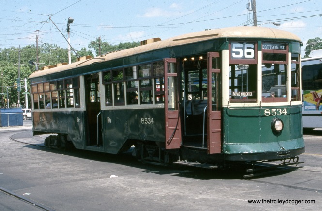 "Philadelphia Peter Witt 8534 in July 1996. Don's Rail Photos: ""8534 was built by Brill Car in 1926, #22353."" It is part of the Electric City Trolley Museum collection in Scranton, PA. Here, it is shown in Philadelphia, during the time it was leased to SEPTA for trolley tours."