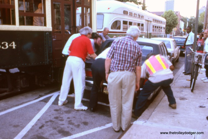 Looks like an attempt was made to move the offending car out of the way. August 1996.