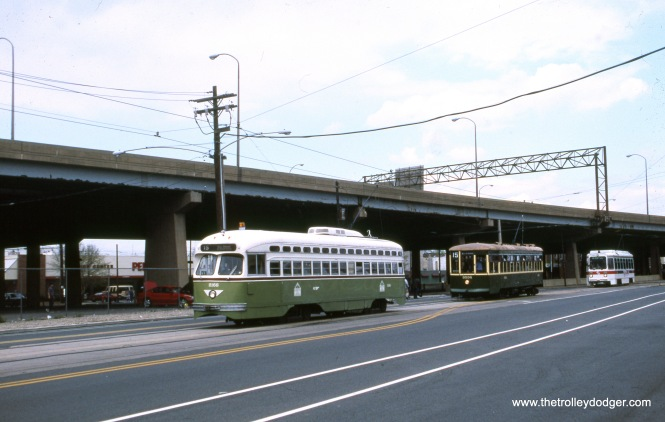 Three generations of Philadelphia streetcars in May 1999.