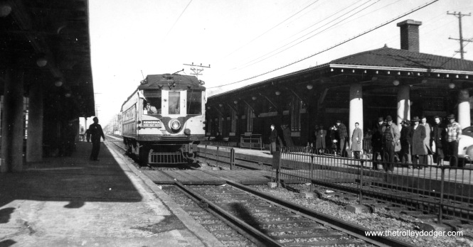 This shows TMER&T 1121 running on a 1949 fantrip on the North Shore Line at the Kenosha station. We ran a similar picture in our previous post Traction in Milwaukee (September 16, 2015).