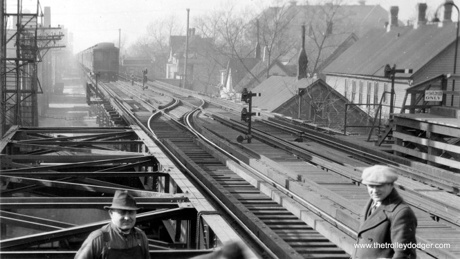 "Photos of the old Humboldt Park ""L"" branch are quite rare. This photo looks west from Western Avenue on January 26, 1931. This branch closed in 1952, although portions of the structure remained into the early 1960s."