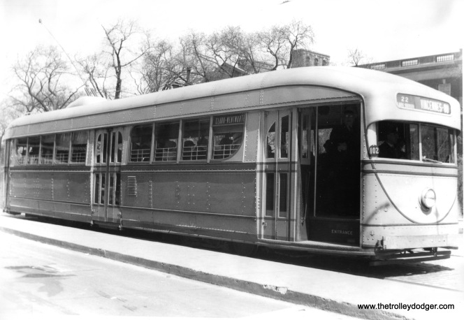 CSL experimental pre-PCC car 7001 is shown heading south on Clark Street at North Avenue, across the street from the Chicago Historical Society (now the Chicago History Museum). This picture was probably taken in the 1930s. 7001 went into service in 1934 and was repainted in 1941 before being retired around 1944. (Edward Frank, Jr. Photo)