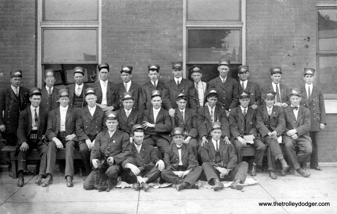 This picture is identified as showing Chicago streetcar conductors and motormen, and probably dates to the early 1900s.