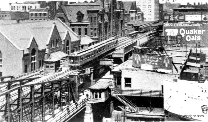 "This picture shows the old Wells Street bridge, carrying the ""L"" across the Chicago River as it heads north-south in the early 1900s."