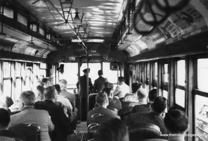 The interior of DC Transit car 766, during an October 8, 1961 fantrip just a few months before Washington's streetcar system was abandoned. This car is now preserved at the National Capital Trolley Museum as Capital Traction Company 27 (its original umber).