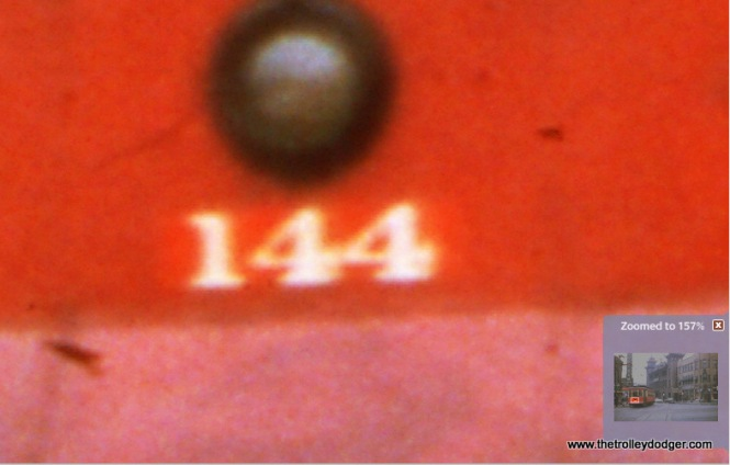 "This close-up of the previous picture shows how the ""144"" is on an oilcloth patch over the actual number 225."
