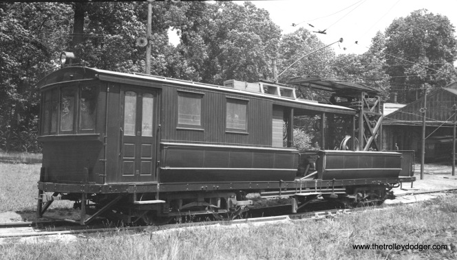 Composite line or utility car 200 was made from closed passenger car 9. Here we see it at the Belmont Avenue car house on June 26, 1936. (W. Lupher Hay Photo)