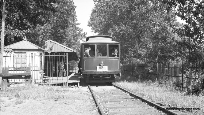 Car 10, shown here at Woodside in September 1941, is signed for the Philadelphia chapter of the National Railway Historical Society, so perhaps this is a fantrip. Trailer #50 is at the rear out of view.