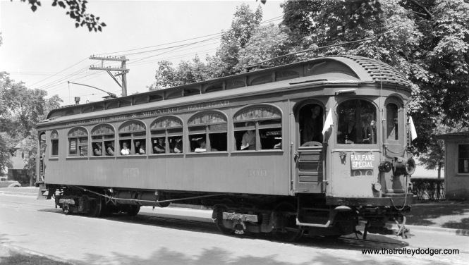 "North Shore Line wood car 300,in the days circa 1939-42 when it was used as the ""club car"" for the fledgling Central Electric Railfans' Association."